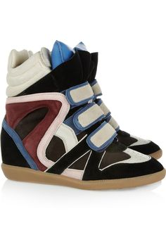 I so want to hate these shoes, but I can't.   Isabel Marant ~ Willow Leather and Suede Sneakers