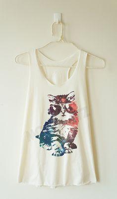 Galaxy glasses cat shirt galaxy cat tshirt meow top by MoodCatz