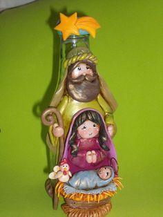 Natividad en botella reciclado Diy Nativity, Christmas Nativity, Christmas Crafts, Christmas Decorations, Christmas Ornaments, Cute Polymer Clay, Polymer Clay Projects, Glass Bottle Crafts, Bottle Art