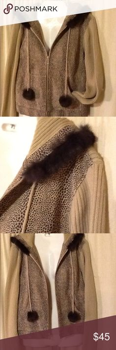 Mythology Animal print leather and rabbit fur Hooded jacket. Zips up, has front pockets and love the hood! Dress up or down! Please fell free to make offer on any of my items! Mythology Jackets & Coats