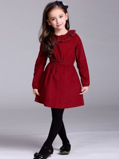 Red cotton mini dress for children. The lace collar makes it lovely while the A-line design makes it elegant. #kidswear #children #cottondress