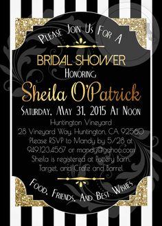Great Gatsby Bridal Shower Invitation Printable by socalcrafty