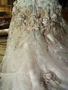 A beautiful masterpiece in lace and silk flowers.<pin by I Share My Pins!>
