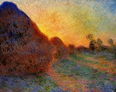 Claude Monet, Grainstacks, 1890. Something about these colors just makes happy feelings