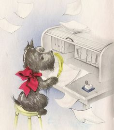 Vintage greeting card  Scottish terrier writing a letter  Scottie dog