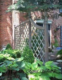 GardenScape - Landscaping for Privacy / This trellis is open but effectively screens the view of this door. - Bower Woods llc. Custom Garden Structures, Trellis
