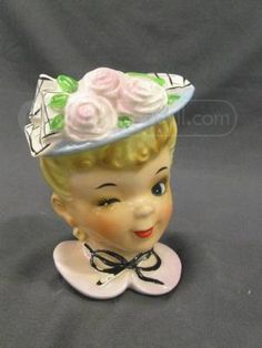 Vintage Enesco Lady Head Vase