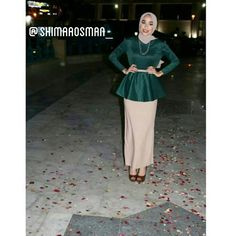 #hejab #muslim #style #fashion #coverd #peplum #top #pencil #skirt #green #nude #design #hejabchic #elegant