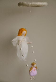 Waldorf inspired needle felted baby mobile: Guardian Angel with Girl or Boy ( made to order). $65.00, via Etsy.
