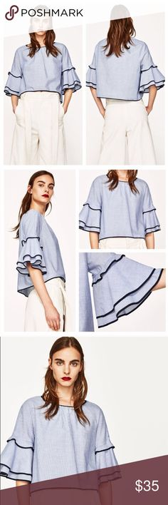 NWT Zara Striped Poplin Top Ruffled Sleeves This top is adorable. Round neckline, Ruffled sleeves and blue contrasting trim. You can pair it with anything and it looks gorgeous. Fabric:cotton. New with tags. Zara Tops Blouses