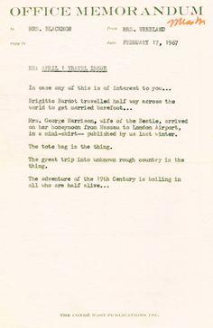 "Take a Memo - Office Memo to Mrs. Blackmon regarding ""April 1 Travel Issue,"" from Diana Vreeland"