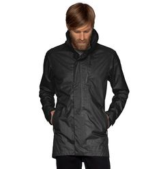 succinct trench    style 041M01    A performance spin on the old school trench. Waterproof, breathable and lightweight, this urban-inspired jacket combines 100% recycled poly fabric, a zip-off hood, and storable reflective tape in a 2.5-layer, packable shell.