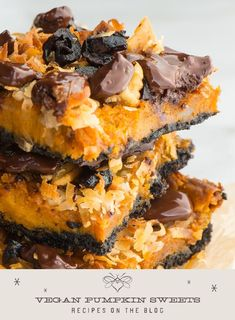 Our friend Marly has put together quite the impressive catalog of vegan pumpkin recipes, and we're happy to share some of them with you on our blog. Vegan Desserts, Fun Desserts, Delicious Desserts, Dessert Recipes, Vegan Pumpkin, Pumpkin Recipes, Honey Recipes, Veg Recipes, Savory Snacks