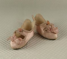 RARE Small Size '5' Antique Original French JUMEAU Silk Satin Shoes with Bee Symbol from the 1890's