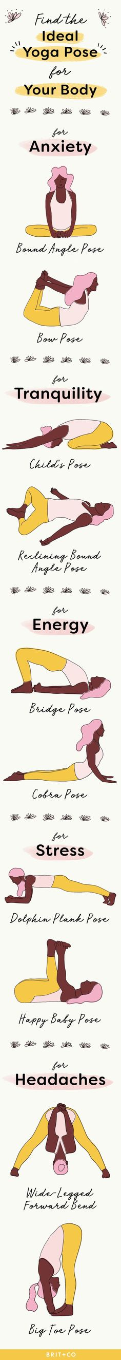 Bookmark this healthy living infographic to discover the perfect yoga poses for your body to help you with anxiety, tranquility, stress, headaches, and energy with poses like bow, child's, bridge, cobra, happy baby, big toe and more poses.