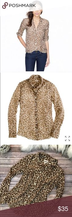 Gorgeous J.Crew perfect leopard print shirt Gorgeous J.Crew perfect leopard print shirt in size 4, please see pics with measurements condition is like new J. Crew Tops Blouses
