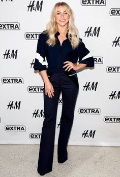 #JulianneHough in a flowing navy blouse and wide-leg trousers while visiting Extra at their studios at H&M in N.Y.C.  #Fashion