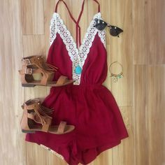 - Details - Size Guide - Model Stats - Contact This romper is the journey of love at its finest! Our Love Quest Lace Romper in wine features a lightweight fabric with a crochet lace detailed, deep V-n