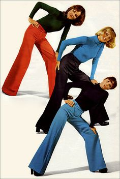 Wide leg trousers, 1974. Every girl owned a pair of these.  Went perfect with the big shoes or boots. Bottoms always covered in snow from walking outside.