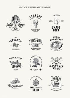 restaurant logo Set of food logo design vectors Resturant Logo, Restaurant Logo Design, Food Logo Design, Vintage Logo Design, Logo Food, Branding Design, Vintage Logos, Graphic Design, Beer Logo Design