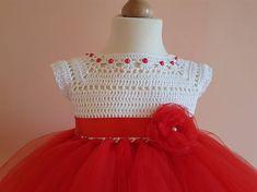 Vestido de rojo vestido de ganchillo ganchillo yugo vestido