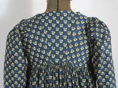 American rural indigo cotton print dress, c.1795-1810