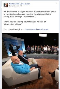 Join the conversation!  Connect with us through Twitter or Facebook:  /ContextTV Youth Unemployment, My Job, Workplace, Conversation, Connect, Join, Social Media, Thoughts