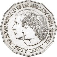 The marriage of one set of Prince George Alexander Louis' grandparents was also celebrated on an Australian coin. This circulating 50 cent coin was released in and celebrated the marriage of HRH The Prince of Wales and Lady Diana Spencer. Old Coins, Rare Coins, The Color Of Money, Fifty Cent, Prince George Alexander Louis, Gold And Silver Coins, Mint Coins, Lady Diana Spencer, Royal House