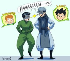 Ging Freecs Gon Freecs and Yusuke Urameshi  Kuwabara Hunter x Hunter Yu Yu Hakusho (Funny because Ging was based off of Yusuke)
