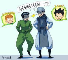 Ging Freecs Gon Freecs and Yusuke Urameshi  Kuwabara Hunter x Hunter Yu Yu Hakusho (Funny because Ging was based off of Yusuke)