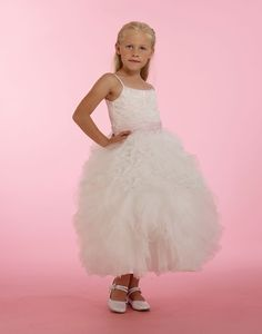 Couture-Designer Girls Dress Style - Spaghetti Strap Lace Dress in Choice of Color Girls Designer Dresses, White Flower Girl Dresses, Embroidered Lace, Lace Dress, Bodice, Tulle, Gowns, Couture, Wedding Dresses