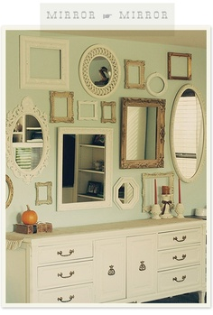 mirror gallery wall with empty frames. I m going 2 create a wall like this but with pictures of my travels Decor, House Design, Framed Mirror Wall, Simple Wall Art, Interior, Decor Inspiration, Home Decor, House Interior, Cool Walls