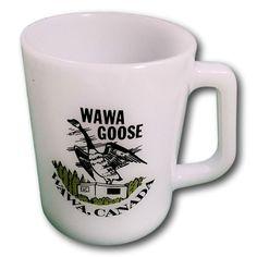 Federal WAWA GOOSE Ontario Canada Milk Glass Mug Mug F Marking Vintage #FederalGlass Cool Mugs, Milk Glass, Ontario, Canada, Fire, Ebay, Watch, Federal, Clock