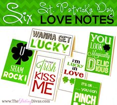 Six St. Patrick's Day Love Notes...free printable...