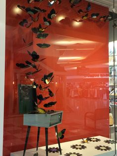 Handmade vinyl record butterflies for Record Store Day 2016 window display at the Woodstock Music Shop. #RSD16 CNC Router