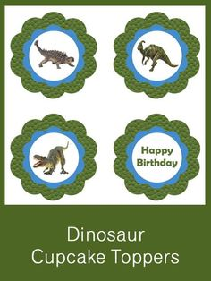 Dinosaur Cupcake Toppers - FREE PDF Download