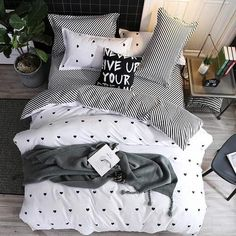 Home Bedding Sets 4Pcs Bed Sheet Duvet Cover Set Pillowcase Without Comforter #beddingsets #roomdecor #homedecor
