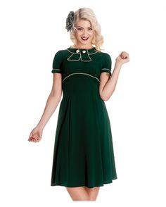 Hell Bunny 40s 50s Mae West Vintage Tea Dress Green