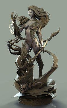 David Giraud - collectible works - Page 2 3d Character, Character Concept, Concept Art, Character Design, Digital Sculpting, 3d Figures, Modelos 3d, Cg Artist, Warrior Girl