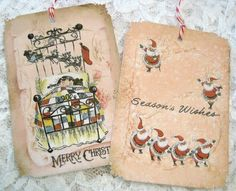 Vintage Christmas Gift Hang Tags no1 Merry by theporcelainrose