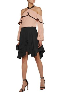 Shop on-sale Halston Heritage Asymmetric embroidered crepe skirt. Browse other discount designer Skirts & more on The Most Fashionable Fashion Outlet, THE OUTNET.COM