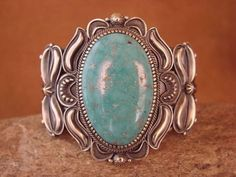 Navajo Indian Sterling Silver Turquoise Bracelet by Kirk Smith! Stunning Quality
