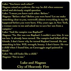 Magnus Bane and Luke Garroway (City of Heavenly Fire by Cassandra Clare ~ The Mortal Instruments book 6) Quote
