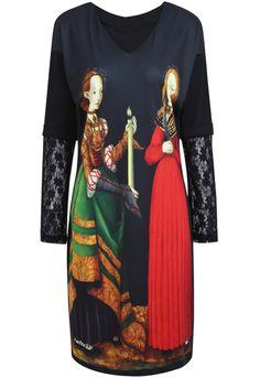 Black Contrast Lace Retro Portrait Print Dress EUR€23.10