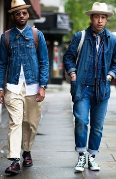 Street Style : London Collections: Mens fashion week street style spring/summer 2017 - Dress World for Men Fashion Week Hommes, Mens Fashion Week, Denim Fashion, London Mens Fashion, Abaya Fashion, Fashion 2016, 1950s Fashion, Urban Fashion, Fashion Photo