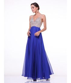 This is a sexy and fun prom dress. It has a nice v-neck detail and a beautifully embellished silver mesh bodice. The contrasting skirt is a great flowing chiffon.