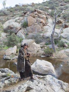 Artist India Flint, beside Reedy Creek in South Australia, prepares to unroll a… India Flint, Natural Dyeing, South Australia, Range, Sleeve, Artist, Prints, Inspiration, Travel