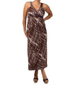 Look what I found on #zulily! Brown Linear Surplice Maxi Dress - Plus #zulilyfinds