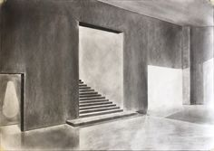 Charcoal interior drawing