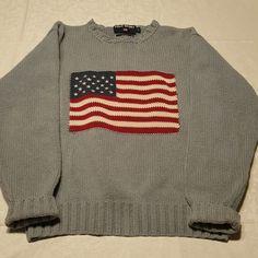 Men s Vintage Ralph Lauren Polo Sport American Flag Light Blue Sweater  Small  RalphLauren befa3fe922